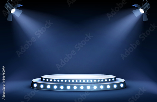 Foto Round podium or stage in the rays of spotlights, realistic vector illustration