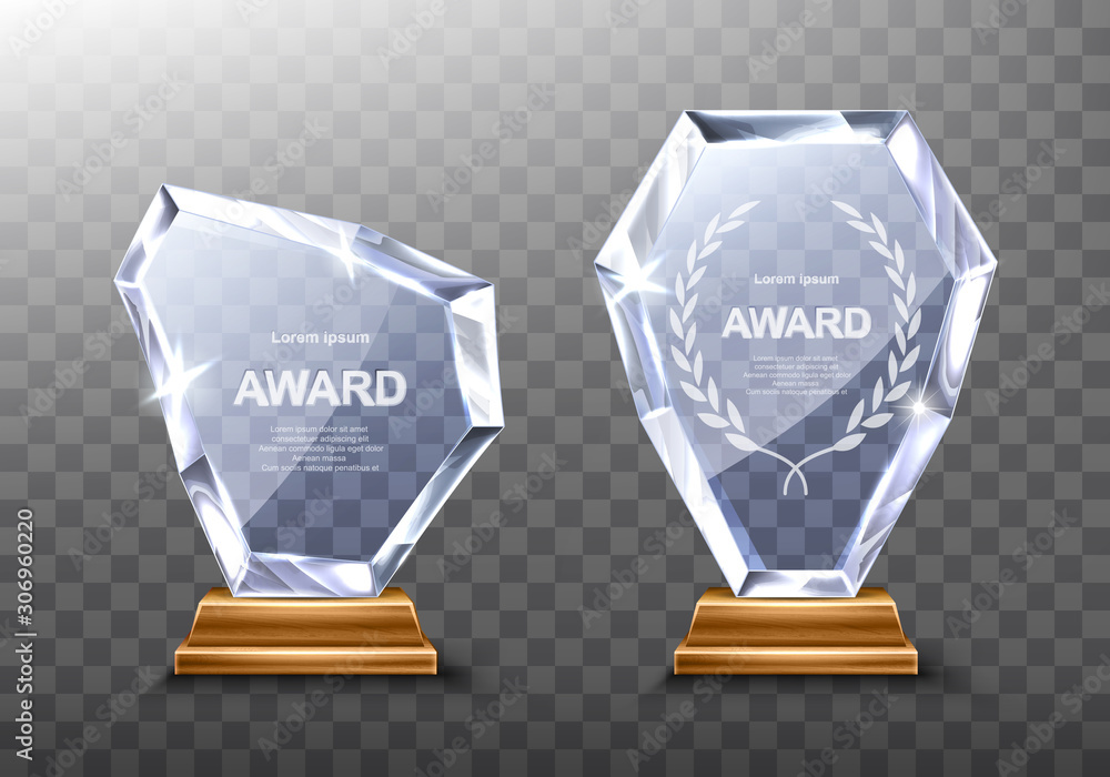 Fototapeta Glass award trophy or winner prize realistic vector illustration. Transparent crystal plate or acrylic diamond frame with laurel wreath on wooden pedestal, isolared front view with light and shadow