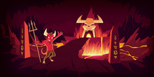 Hell Landscape, Cartoon Vector Illustration. Infernal Devil Stone Cave And Bridge, Road To Hell With Heat Rock And Volcanoes, Flowing Molten Lava Or Liquid Fire And Horned Skull, Fiery Game Background
