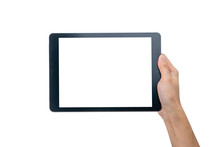 Technology Concept. Hand Holding Tablet
