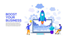 Boost Your Business Concept With Rocket, Laptop And Characters. Vector Illustration. Landing Page Template For Web And Mobile.