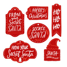Secret Santa Gift Tags, Red Labels With Text. Handwritten Inscriptions From Your Secret Santa, Merry Christmas, Ho Ho Ho, Santa Special Delivery