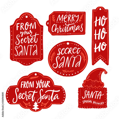 Comics Secret Santa gift tags, red labels with text. Handwritten inscriptions from your Secret Santa, Merry Christmas, Ho ho ho, santa special delivery