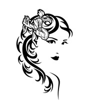 Beautiful Elf Woman With Sharp Ears And Iris Flower In Hair - Black And White Vector Portrait Of Fairy Tale Nymph