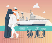 Uss Midway Poster With Ship And Kissing Statues. Colorful Design In Modern Flat Style.
