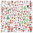 Set of Christmas Drawing illustration Hand drawn doodle Sketch line vector eps10