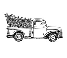 Pickup With Christmas Tree In Line Art Style. New Year.