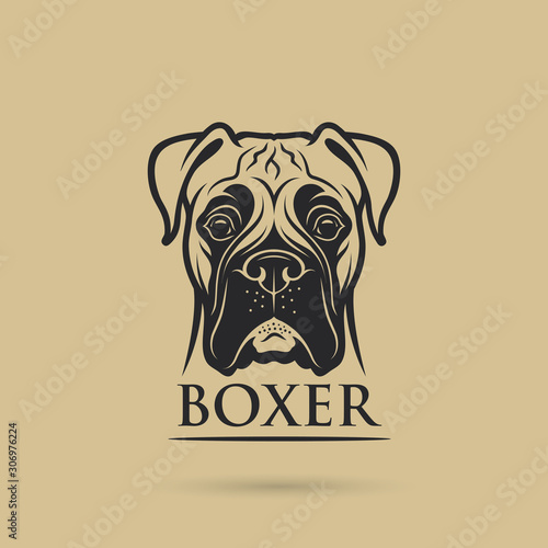 Boxer dog - isolated outlined vector illustration Fototapete