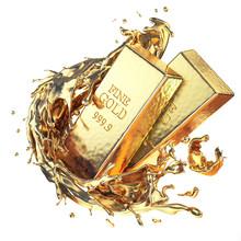 Golden Ingot Bars With Splash ...