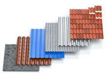 Different Types Of Roof Coating. Sheet Metal  Profiles, Ceramic Tiles, Asphalt Roofing Shingles And Gypsum Slate Isolated On White Background.