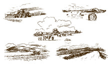 Agricultural Countryside Landscape, Set Of Hand-drawn Illustrations (vector)