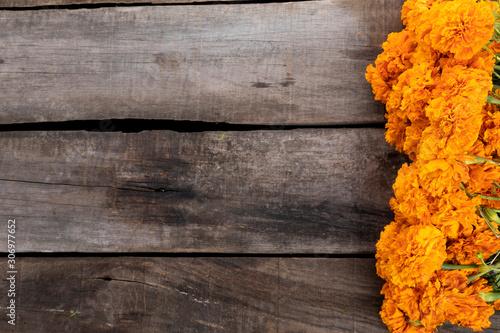 Fototapeta Cempazuchitl flowers on rustic wooden table. obraz
