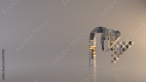 light background 3d rendering symbol of shower icon Fototapet