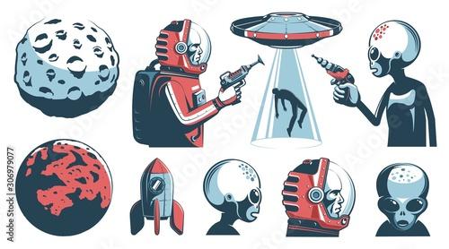 Alien UFO vintage set with astronaut and martian Fototapet