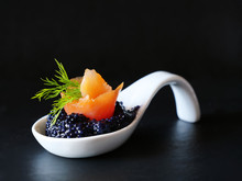 Black Caviar With Smoked Salmo...