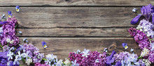 Spring Flowers  On Old Wooden ...