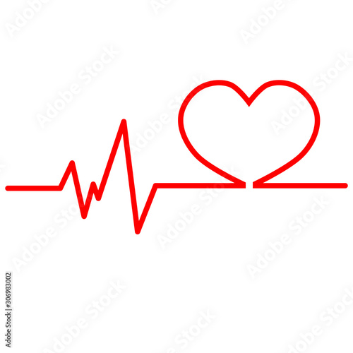 Photo Red heartbeat line icon