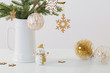 Leinwanddruck Bild - modern Christmas sill life in jug with snowman on white backgrou