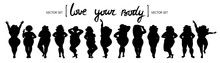 Vector Isolated Set Of Women's Silhouettes In Different Poses On White Background. Body Positive Models. Collection On The Theme Of Fashion And Beauty