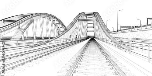 Fotomural The BIM model of the railway bridge of wireframe view