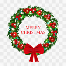 Christmas Wreath Of Holly With Red Berries Decorated Red Bows And Gold Stars And Bubbles, Glowing Lights Isolated On Transparent Background. Vector