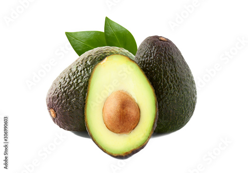 Leinwand Poster Brown avocado with avocado leaves on a white background