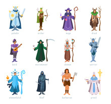 RPG Characters Classes. Roleplaying Game. Armed Heroes In Costumes. Vector Illustration Isolated On White Background.
