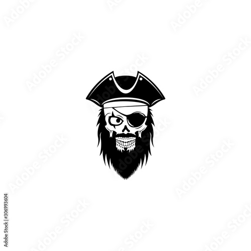 In de dag Uilen cartoon Pirate captain and knife vector, Human in pirate hat and eyepatch. Vintage logo, skull tattoo template design.
