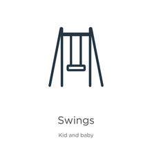 Swings Icon. Thin Linear Swing...