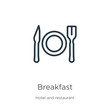Breakfast icon. Thin linear breakfast outline icon isolated on white background from accommodation collection. Line vector breakfast sign, symbol for web and mobile
