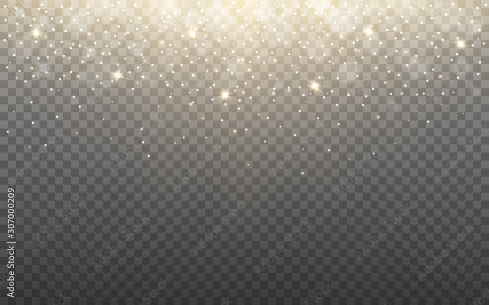 Fototapeta Glowing light and snow flakes on transparent background. Shining particles and bokeh. Gold glitter effect with rays. Christmas banner template with sparks. Vector illustration