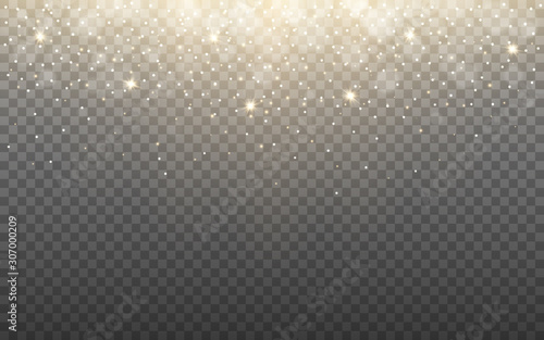 Glowing light and snow flakes on transparent background. Shining particles and bokeh. Gold glitter effect with rays. Christmas banner template with sparks. Vector illustration