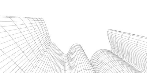 Architecture building construction. Linear 3d illustration. Concept sketch