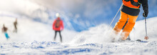 Winter Ski Sport Activities In Sunny Day. Skier Detail Panorama Or Banner. Copy Space Concept.
