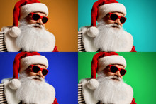 Collage Of Four Photos With Santa Claus In Red Sunglasses