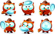 Set Of Detective Owl Characters With Magnifying Glass, Investigating. Full Vector Illustration.