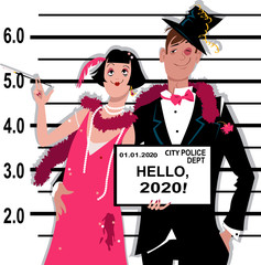 Young inebriated couple dressed in 1920s fashion stands for a mug shot at the police station, holding Hello 2020 tablet, EPS 8 vector illustration