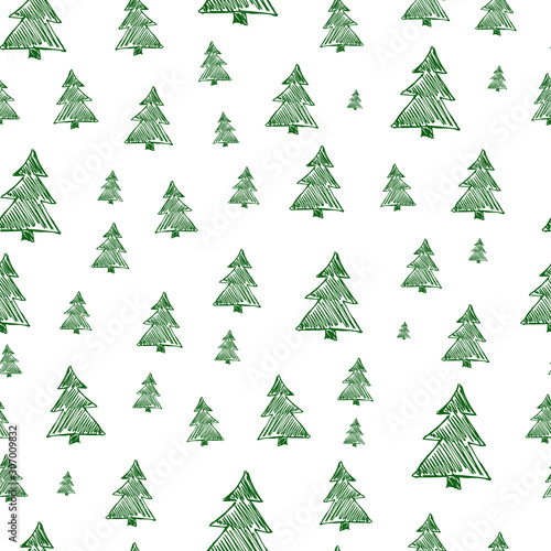 fototapeta na szkło Seamless pattern with hand drawn Christmas trees