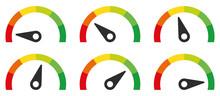 Colour Speedometer Set. Vector Illustration