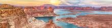 Lake Powell Panoramic Sunset Landscape, Arizona, USA. Alstrom Point. Travel Concept.