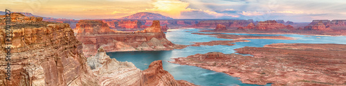 Lake Powell panoramic sunset landscape, Arizona, USA Canvas