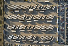 Logistics Center With Trucks And Trailers For Cargo Dispatching