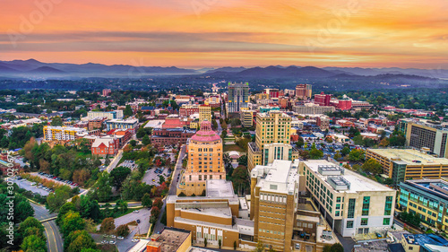 Downtown Asheville North Carolina NC Skyline Aerial Fototapeta