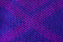 Blue Lilac Fabric Texture From A Piece Of Woolen Clothing With Stripes