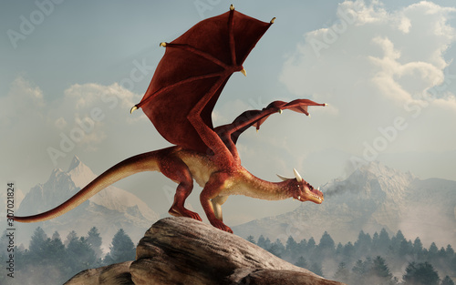A huge red dragon is perched on a stone covered hill. Its wings spread, the monster of myth and legend looks out over a verdant valley. 3D Rendering