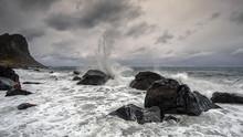 Waves Crashing Against Rocks, Lofoten, Nordland, Norway