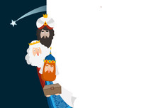 Christmas Greeting Card, Invitation. Three Magi Bringing Gifts. Biblical Kings Caspar, Melchior, Balthazar And Comet. Falling Star. Vector Illustration Background. Blank Paper Bannner, Copy Space.