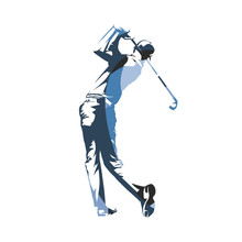 Golf Player, Golf Swing, Isolated Vector Illustration