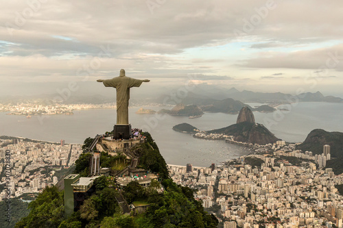 Aerial view of Rio de Janeiro with Christ Redeemer statue Wallpaper Mural