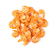Dried Shrimp Isolated On A White Background. Top View